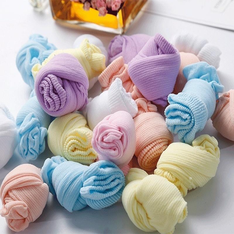 Игрушки NUKied Одноразовые дети носки мягкий хлопок носки младенца носки конфеты цвета носки для игры (5 пар / лот) (Фото 2)