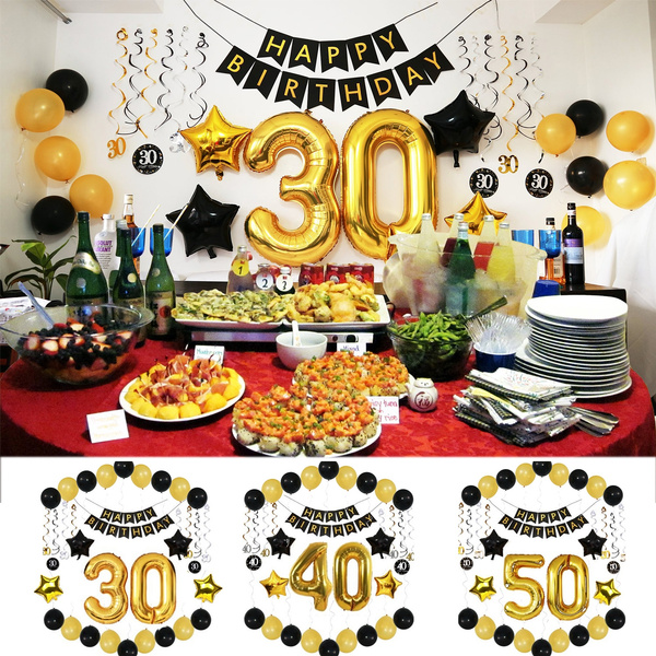 BIRTHDAY PARTY DECORATIONS Balloons: Ideas Supplies-30/40/50 Year Old Men  for Him Her-Birthday Banner-38\