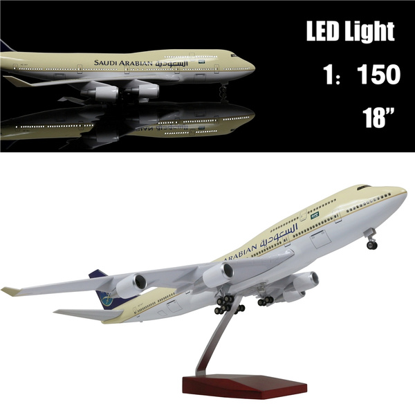 18 1:130 Scale Model Jet Saudi Arabia Boeing 747 Aircraft Model Kits  Display Diecast Airplane for Adults with LED Light(Touch or Sound Control)