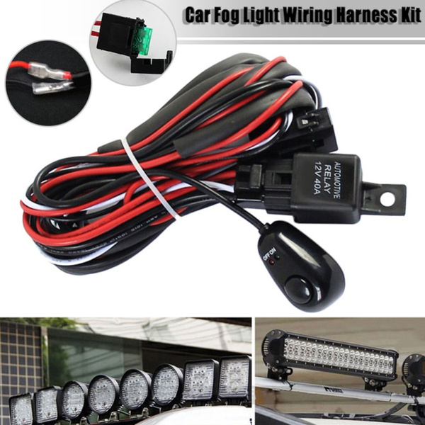 Fuse Relay On//Off Switch Relay Heavy Duty Wiring Harness Kit for Universal Car LED Fog Light On//Off 12V Fog Light Switch Wiring Kit