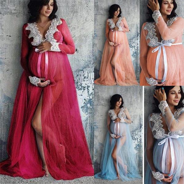 Women Lace Maternity Dress Women Pregnancy Lace Long Maxi Dress