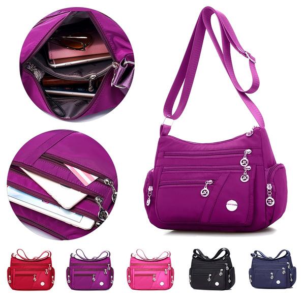 Waterproof Nylon Multi-pocket Women Messenger Bag Burgundy