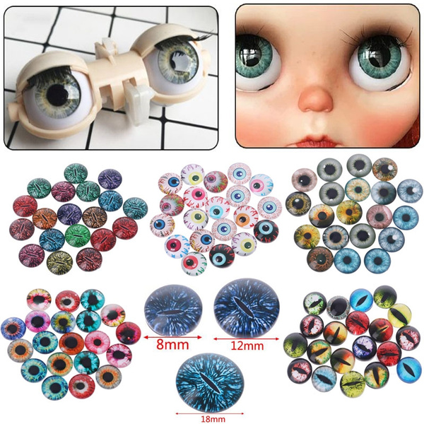 20Pcs Glass Doll Eyes Animal DIY Crafts Eyeballs Jewelry Handmade 8mm//12mm//18mm