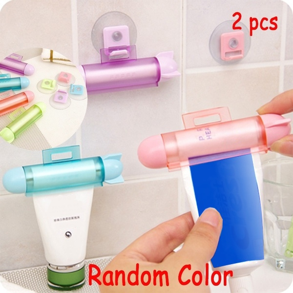 2pcs/Set Abs Cute Rolling Squeezer Toothpaste Dispenser Tube Partner Hanging Holder by Wish