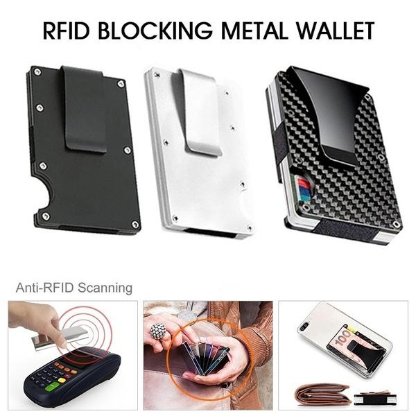 Mens Metal Wallet Clip Minimalist Wallet RFID Blocking Credit Card Money Holders