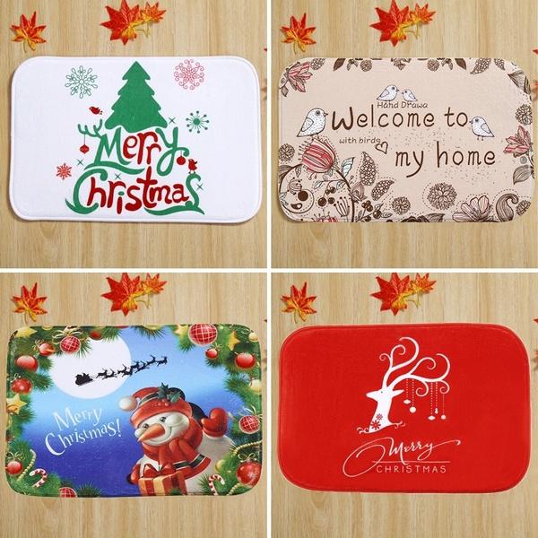 Christmas Door Mat Santa Printed Bathroom Carpet Bath Toilet Mat Home Decor Area Kitchen Rug Outdoor Funny Floor Mats 60x40 Cm