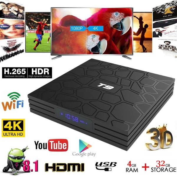 NEW T9 Android 8 1 Oreo TV BOX 4GB+32GB 2 4G WiFi Quad Core H 265 4K HD 3D