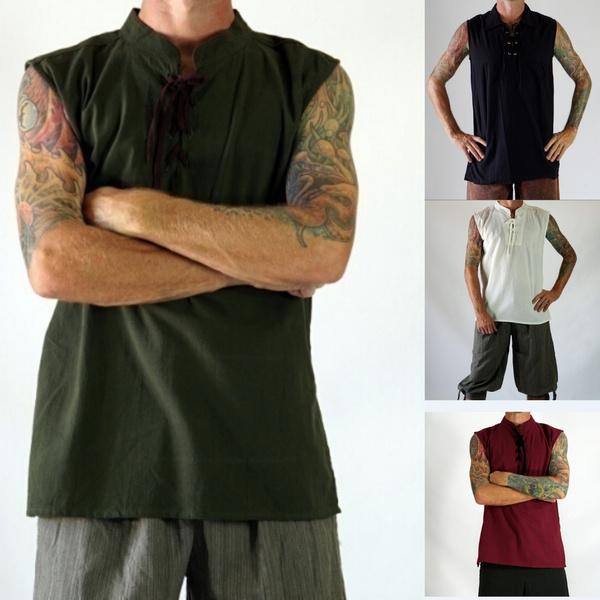 Mens Rogue Shirt Renaissance Medieval Green Pirat Steampunk Costume Viking Tunic