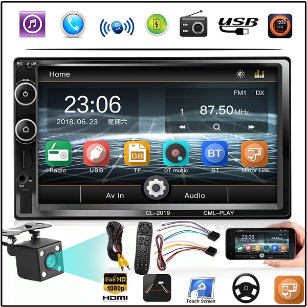 7018B Car Radio 7 Inch Dash Auto Audio MP5 Player Bluetooth 1080P Car Rear  View Support for Android iPhone Interconnection