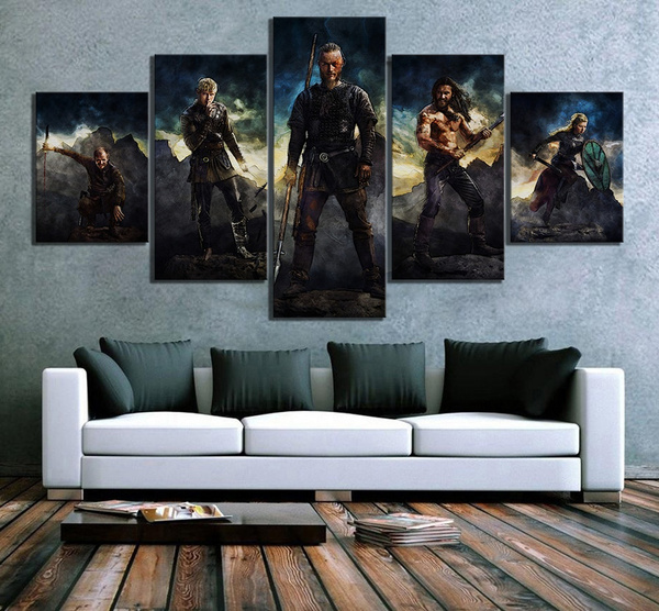 5 Piece Abstract Art Hd Pictures Vikings Movie Poster Canvas Art Wall Paintings For Living Room Wall Decor No Frame