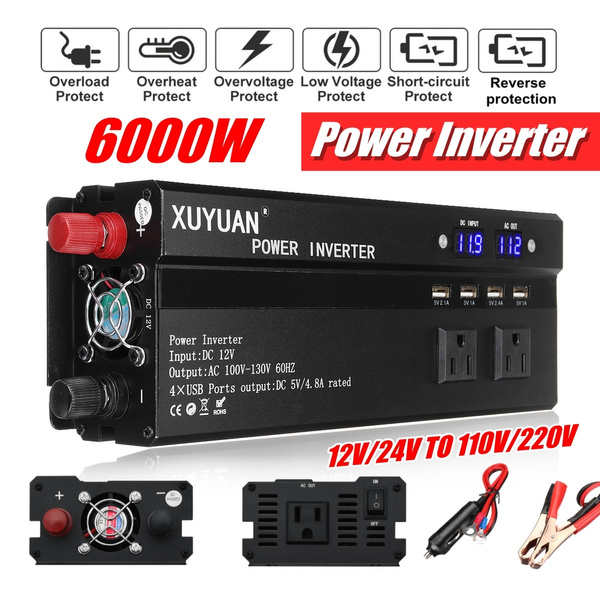 1000-6000W Car Pure Modified Sine Wave Power Inverter DC 12//24V To AC 110//220V