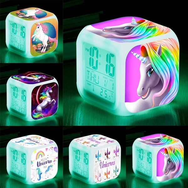 Cute Unicorn Alarm Clock Led Light Color Changing Cartoon Clocks Boys Girls  Digital Alarm Clock Toys Gift For Kids