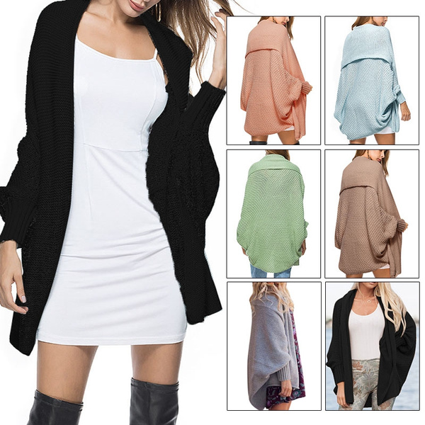 292beaa2b135 Ladies Knitted Sweaters Winter Baggy Cardigan Coat Top Chunky Knitting  Batwing Sleeve Oversized Sweater Jumper Loose Open Front Knit Jacket