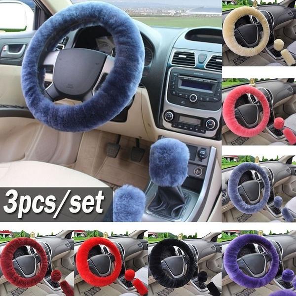 1pc Woollen Wool Car Steering Wheel Cover Warm Universal Plush Soft Cover Purple