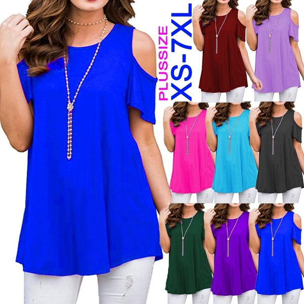 Summer, Plus Size, Cotton T Shirt, short sleeves