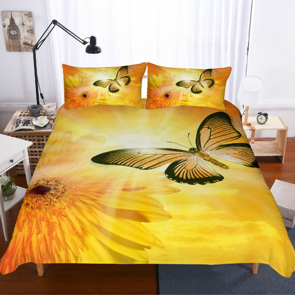 Butterfly Single Double King SuperKing Duvet Quilt Cover Bedding Set PillowCover