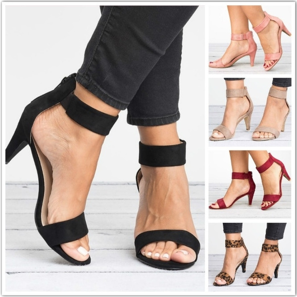 82018b1b1c Ladies Sexy High Heel Open Toe Sandal Fashion Women Suede Ankle Strap  Sandals OL Low Heel Wedding Shoes Summer Female Stiletto Heel Sandals  Casual Leopard ...