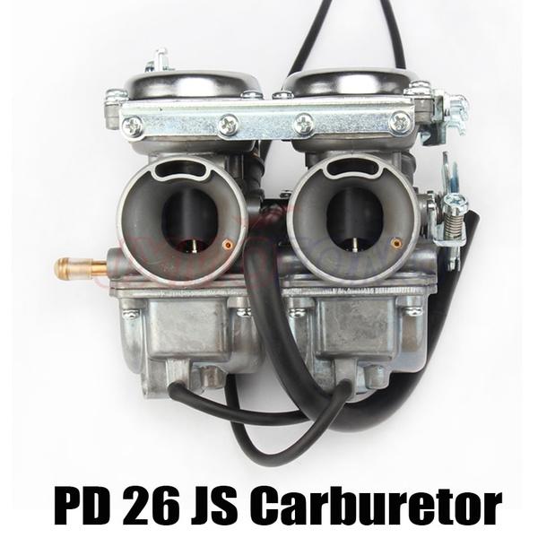 Double Twin Cylinder Carburetor for Keihin PD26JS 26mm CBT125 CBT250 CA250  CB250 Cl125-3 Engine Motorcycle ATVs Quad Go Kart