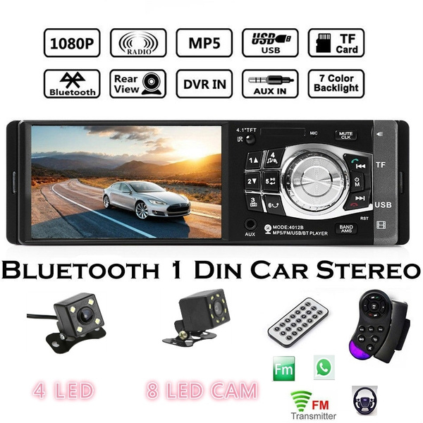 4 1'' Bluetooth HD Car Stereo Radio MP4 Player FM/USB/TF/EQ MP3/Remote  Autoradio + Camera