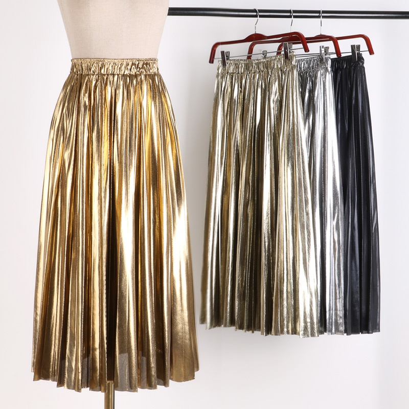 Women Metal Pleated Skirt Midi Elastic Waist Swing Casual Gold Silver Fashion