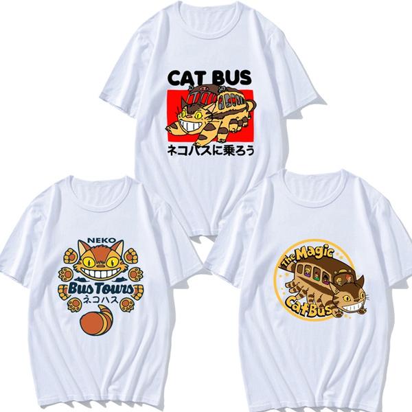 Studio Ghibli Neighbour Totoro Ride Cat Bus Japanses Anime Unisex T-Shirt  Tumblr Cute Graphic Tee White