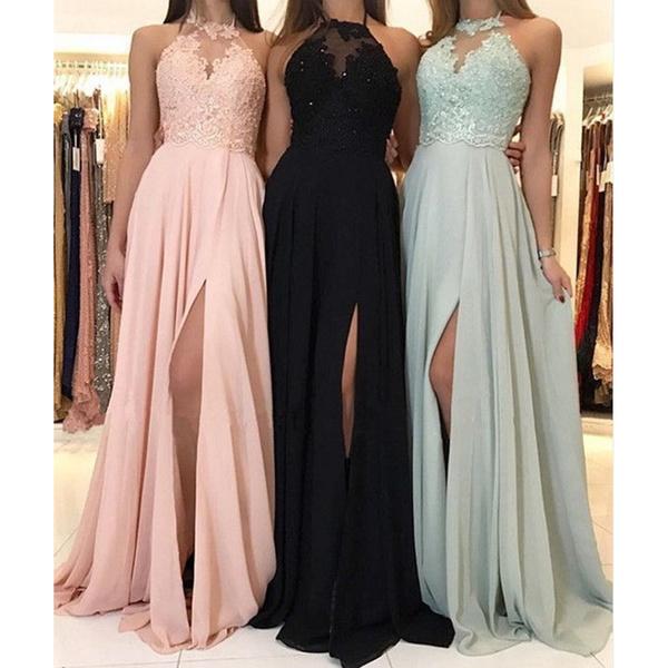 High Quality Women Girls Summer Sleeveless Halter Dresses Elegant Wedding Bridesmaid High Slit Lace Dress High Waist Floor Length Maxi Dresses