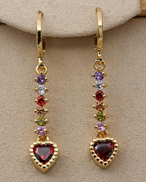 yellow gold, heart earrings, Gemstone Earrings, topazearring