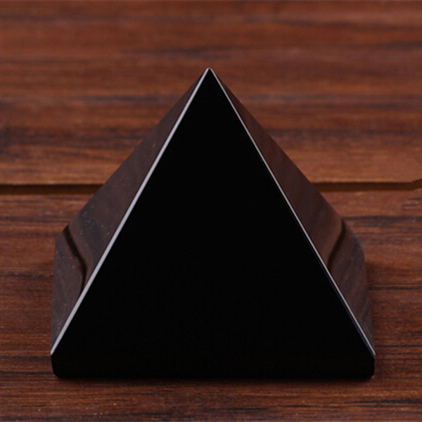 Natural Obsidian Black Quartz Crystal Pyramid Stone Rock Healing Home Decor Gift