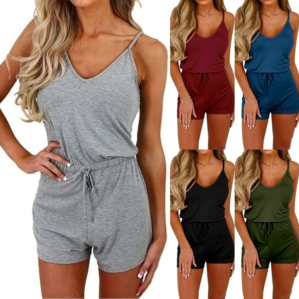 Summer, Fashion, slim, shortjumpsuit