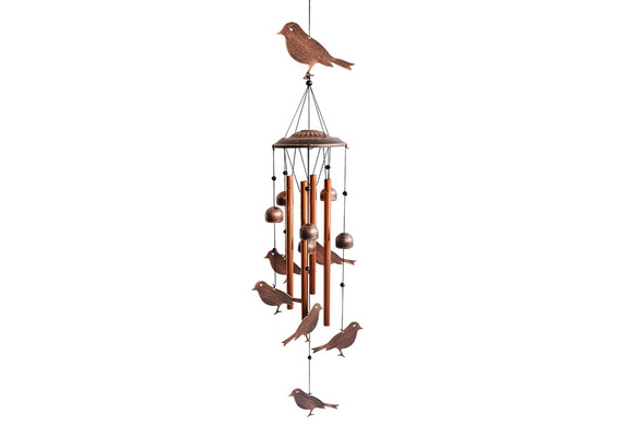 Bird Wind Chimes - Hollow Aluminum Tubes - Wind Bells and Birds-Wind Chime  with Hook for Indoor and Outdoor