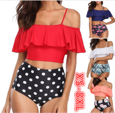 Plus Size, Two piece swimsuits for women, offshoulderswimsuit, ruffle
