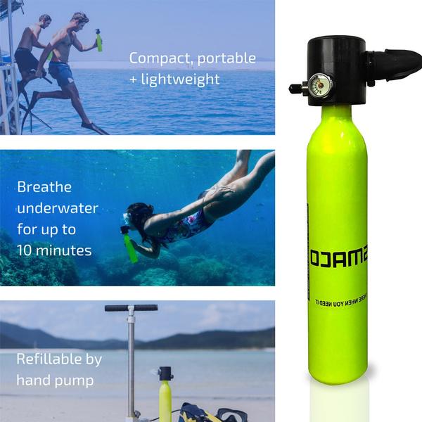Mini Scuba Oxygen Cylinder Oxygen Tank Tank Breath Underwater Diving  Equipment 500ML Capacity