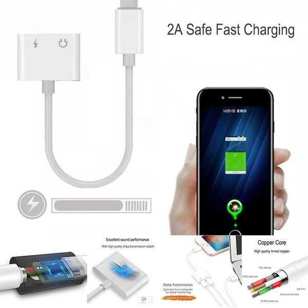 Iphone Lightning Adapter Cable for Iphone 7/8/x/XS/XR/XS MAX Two styles  (3 5mm Jack+Lightning or Double Lightning) For iphone Charging and Music