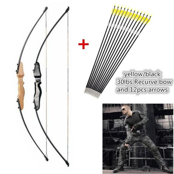 Yellow/black 51 Inches 30Lbs Straight Archery Hunting Shooting Recurve Bow  And 12pcs Fiberglass Arrows Shooting Combo