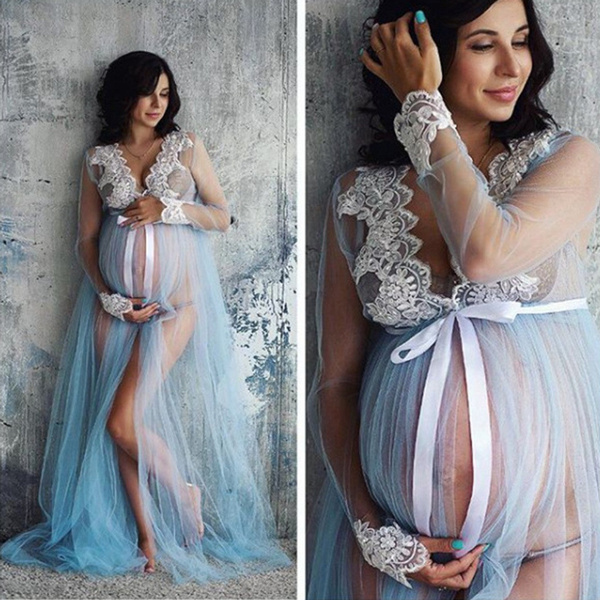 c9e230ea728bf Women Mesh Gown Maternity Maxi Dress Long Sleeve Sexy Lingerie Nightdress  Pregnancy Party Dresses Photography Prop Clothes | Wish