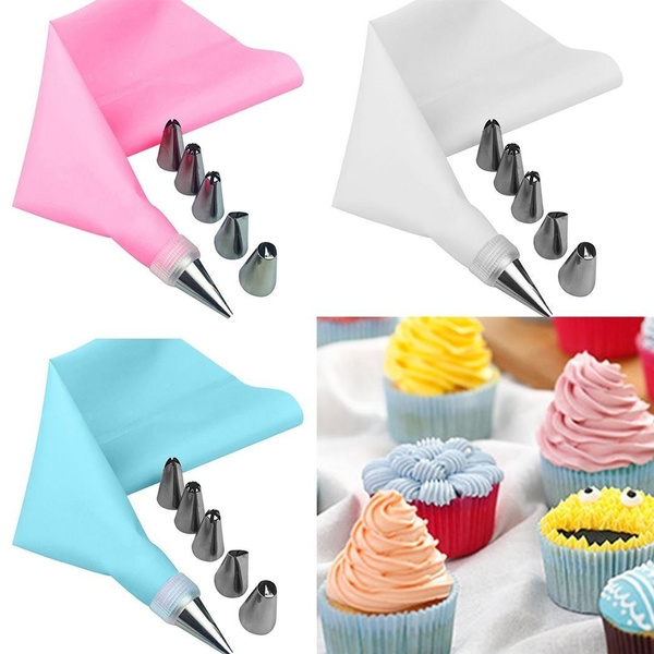8Pcs//Set Icing Piping Cream Pastry Bag 6 Stainless Steel Nozzle Set Cake Tool