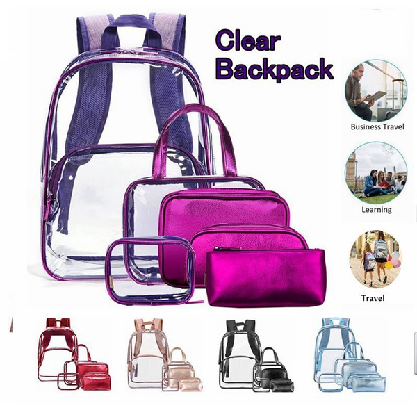 1be9955309cb Utotebag® 6 in 1 Clear Backpack Heavy Duty School Backpack with Pencil-Case  Makeup Bags Stadium Approved See-Through Backpack for Teen Girl Boy Kid ...
