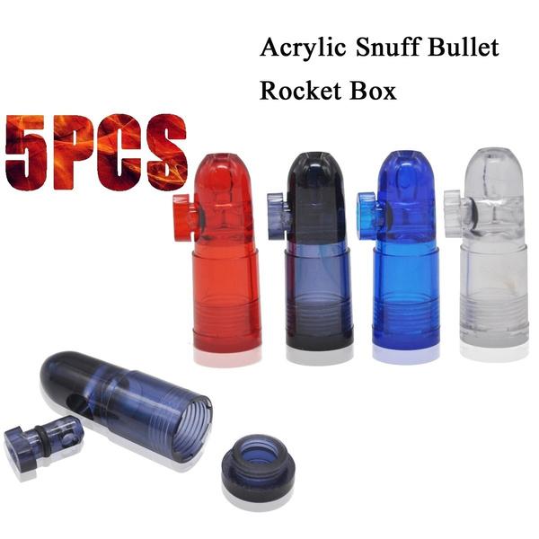 5PCS Clear Snorter Sniffer Acrylic Snuff Bullet Snuffer Dispenser Plastic  Snorter Rocket Box Nasal