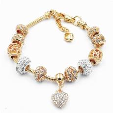 Charm Bracelet, Jewelry, gold, mulhere