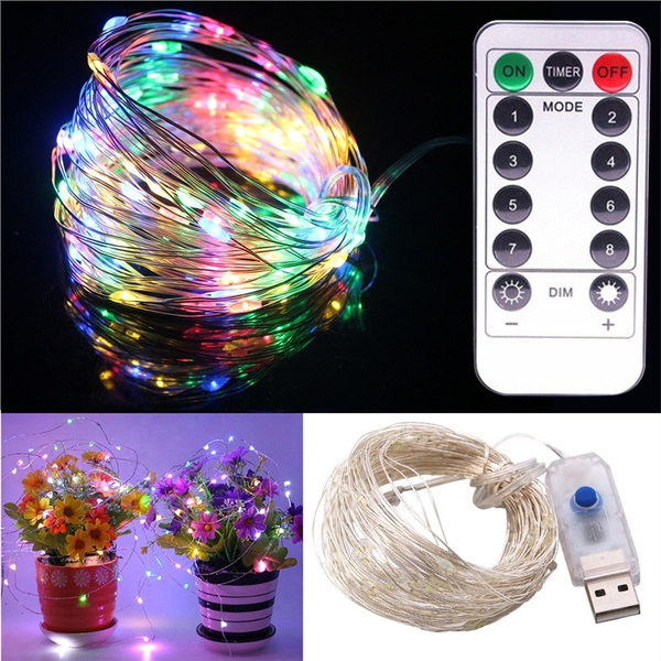 Christmas Light Remote Controls.10m Usb Powered Light String Decorative Silver Wire Led String Lights With Remote Control Christmas Birthday Festival Decoration