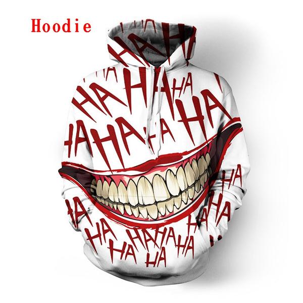 3D Print Mens Womens Funny Joker Hoodie Sweater Sweatshirt Jacket Tops Jumper