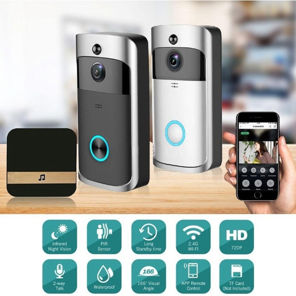 2019 Smart Video Doorbell Wireless Wifi Anti-Theft Truly Wire-Free Camera  With Indoor Chime+ Free Cloud Service+ Two-Way Talk+ Night Vision+ PIR