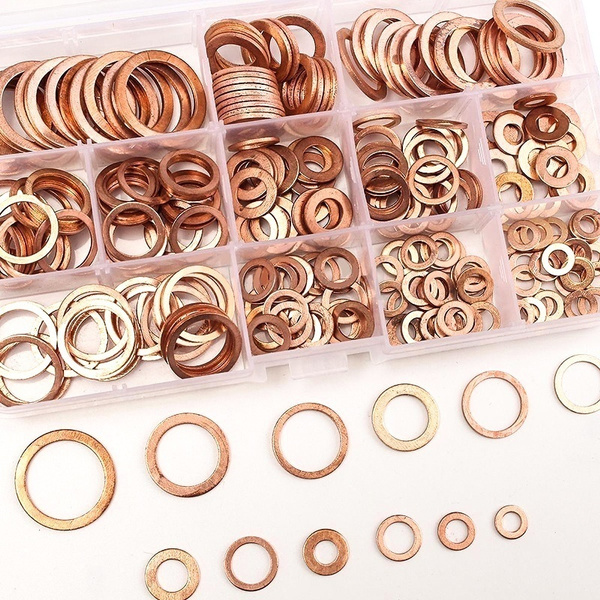 screw, coppergasket, steelwasher, flatwasher