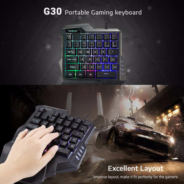 Wired Gaming Keypad with LED Backlight 35 Keys One-handed Membrane Keyboard