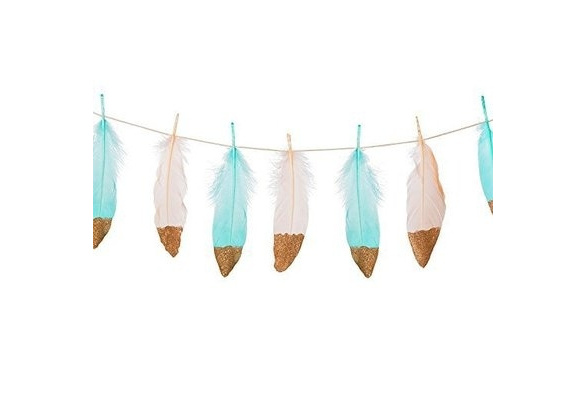 2//set Bohemian Gold Dipped Feather Bunting Tassel Garland Wall Hanging Décor