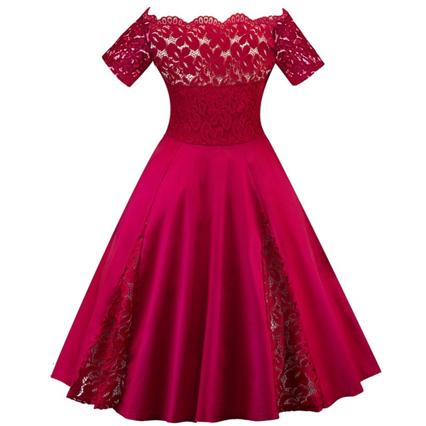 Fahion Plus Size Dress Women Off Shoulder Vintage Lace 50S Rockabilly  Evening Party Swing Pinup Retro Casual Housewife Dresses Wine Red