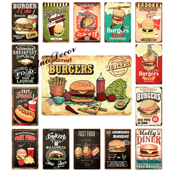 Putuo Burger Retro And Vintage Tin Signs Metal Posters Plaque
