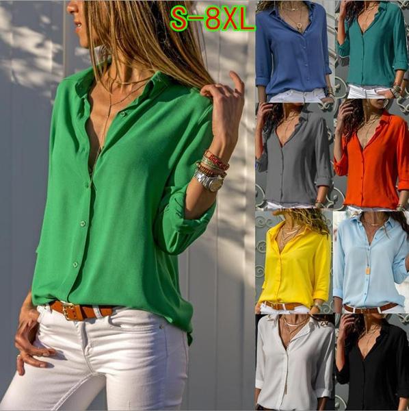 blouse, Fashion, chiffon, Long Sleeve