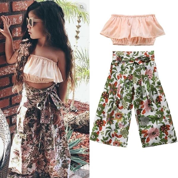 2019 Toddler Kids Girl Ruffle Crop Tops Floral High Waist Wide Leg Pant Trouser Outfits