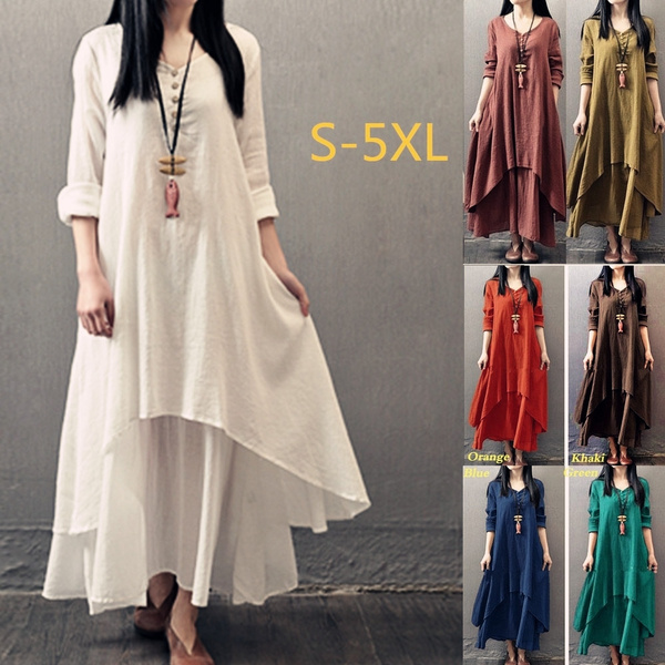 Plus Size, Sleeve, long dress, Vintage